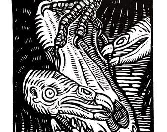 Turkey vultures - Linocut on paper - Kathleen Neeley