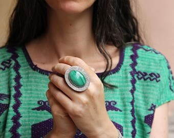 Green Woven ring