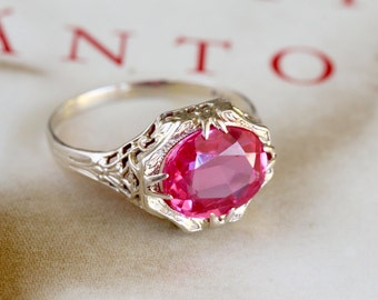 Reserved for RS--Final Payment of 5--Edwardian Ruby Engagement Ring, Antique Engagement Ring, Art Nouveau 14k Gold Filigree Ring
