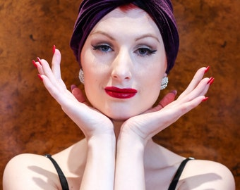 Purple Stretch Velvet Women's Turban - Vintage Old Hollywood Head Wrap - Pinup Style Very Carmen Miranda - Gift for her - Hollywood Glamour
