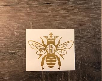 Queen Bee Monogram Decal, Yeti Decal, Car  Monogram Decal, Vinyl Monogram iPhone Sticker, Crown, Bumble Bee, Royalty