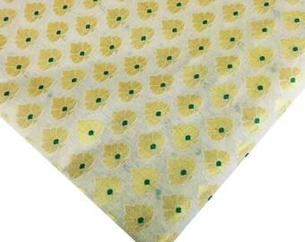 Green Beige Gold Chanderi Silk Fabric - Indian Silk fabric - Green and Gold Silk Fabric by Yard - Sewing Crafting Costume Banaras Silk