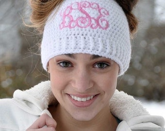 Messy Bun Beanie with Monogram - Messy Bun Hat - Ponytail Hat - Bun Hat - Monogram Gift - Monogram Beanie - Top Knot - Embrace Messy Hair