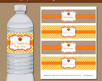 Thanksgiving Party Decor - Thanksgiving Water Label Download - Digital Thanksgiving Labels - Autumn Water Bottle Labels Fall Decorations T4