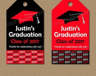 Personalized Graduation Tags - Printable Tags - Senior Graduation Gift Tags - Class of 2017 Tags - Red Black Graduation Party Favor Tags G1
