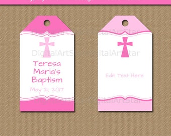 Baptism Tags - Pink Baptism Favor Tags - First Communion Tags - Thank You Tags - Christening Tags - Religious Tags INSTANT DOWNLOAD Tags I1