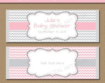 Baby Shower Candy Wrapper Template, PRINTABLE Chocolate Wrappers, Pink and Gray Bridal Shower Candy Bar Wrappers, Birthday Labels BB1