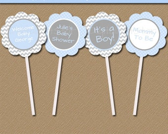 Baby Boy Shower Decorations, Instant Download and EDITABLE, Blue Grey Chevron Printable Cupcake Picks, Baby Boy Shower Cupcake Toppers BB1