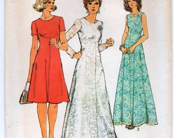 "1970's Simplicity One-Piece Maxi Dress or Day Dress with Three Sleeve lengths Pattern - Bust 38"" - no. 6094"