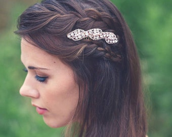 Rose Gold Hair Comb Rose Gold Bridal Hair Comb Rhinestone Pearl Wedding Hair Comb Rhinestone Wedding Headpiece, Rose Gold Hair Accessory
