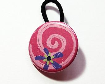 Pink Ponytail Holder, Flower Hair Elastic, stocking stuffer, Gift for her, pony tail, Abstract Design, Hair Fashion, Flower, Swirl (6162)