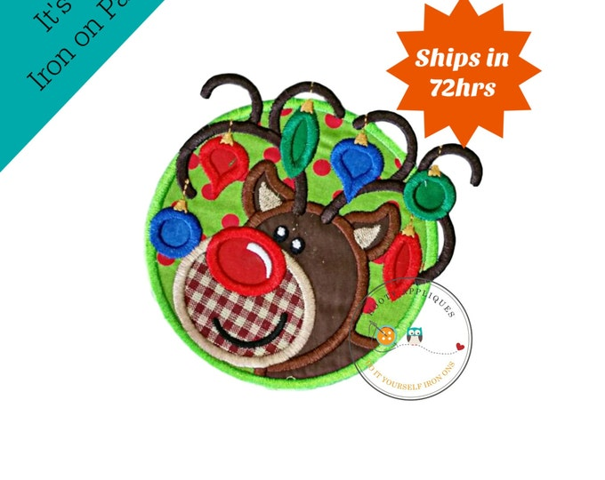 Christmas lights tangled boy reindeer machine embroidered fabric iron on no sew patch, holiday patch for kids clothing