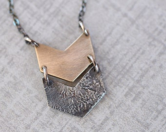 Double Chevron Necklace, Reticulated Silver Pendant, Brass Chevron Pendant, Mixed Metals Necklace