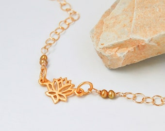 Gold Lotus Necklace | Lotus Flower with Seed Pearls