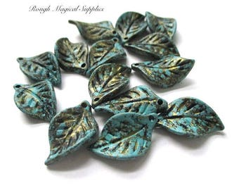 Blue and Gold Leaf Charms, Leaf Pendants, Aqua Turquoise, Wavy Leaves, Textured Acrylic Dangles DIY Jewelry, Hair Crafts 14 Pieces SP135