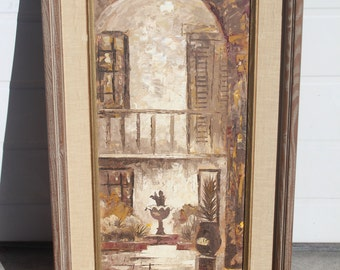 E. Blouin Oil Painting on Board New Orleans Artist Bosque Patio Chartres Street Framed  Original Street Scene