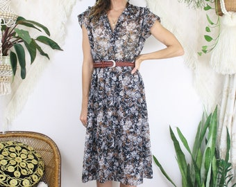 70s Floral Summer Dress, Small Medium 4179
