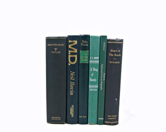 Dark Green Books, Decorative Books, Old Book Set, y, Antique Book Collection, Book, Weddings, Book Decor, Interior Design