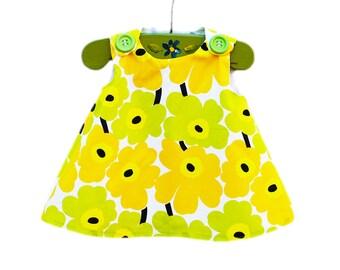 Marimekko Toddler Dress - Yellow Apple Green - Vintage Dress - Girls Dress - Baby  - Etsy Kids - Gift Idea - 1960' Style - Newborn to 2T