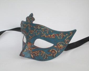 Venetian Masquerade Mask Women Blue Female Domino with Golden Ornaments