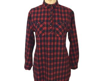 vintage 1970s plaid blouse / Crazy Horse / wool blend / henley shirt / women's vintage blouse / tag size 11/12