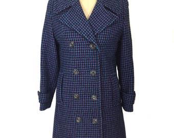 vintage 1970s HARRIS TWEED coat / black purple blue / tweed coat / wool / double breasted coat / women's vintage coat / size small