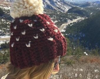 Women's Fair Isle Pom Hat, Crochet Pom Hat, Crochet Beanie, Womens Winter Hat, MADE TO ORDER