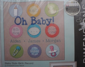 Dimensions Baby Dots Birth Record in Counted Cross Stitch Kit