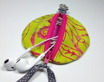 Bright Lime Pink Circle Earbud Pouch, Zipper ipod shuffle bag, Earpod holder, Headphone Case, Coin Purse, Zip Cord Organizer, Gadget Case