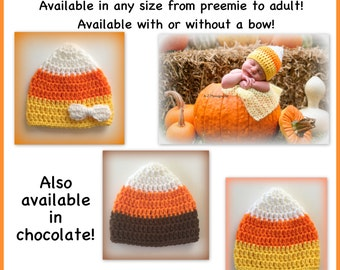 "READY TO SHIP Candy corn hat, preemie, 0-3 months 3-6 months child adult toddler, newborn Halloween hat, orange white yellow, brown 18"" doll"