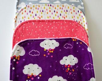 Burp Cloths for Girl, Set of 4 - Clouds, Rain, Stars, Moons, Sky, Umbrellas, Minky Back