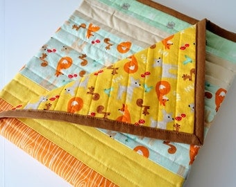 Baby or Toddler Quilt for Girl or Boy - Fox, Birch Tree, Dandelion, Woodland Animal on Cotton, Reversible, 35 x 42 inches