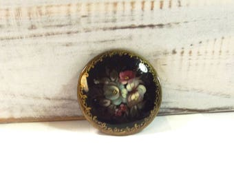 Vintage Brooch - Vintage Jewelry - Russian Painted Pin - Flower Pin - Folk Jewelry - Ethnic Jewelry