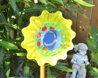 Glass Flower Garden Art Hand Painted in Bright Yellow / Red / Blue / Green