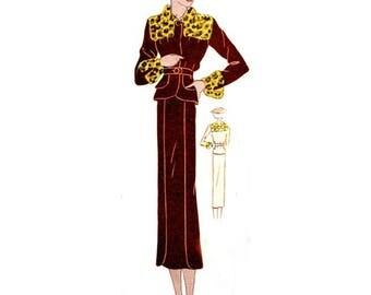 Plus Size (or any size) Vintage 1934 Dress Sewing Pattern - PDF - Pattern No 1528 Tommie