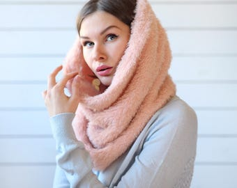 Vintage powder pink soft fuzzy snood tube scarf hood turtleneck neck shawl wrap