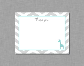 Aqua Giraffe Thank You Card Baby Shower BB56 Printable - Instant Download