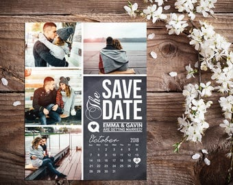 Save The Date Magnet, Card or Postcard . Chalkboard Calendar