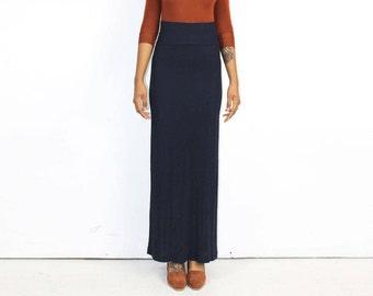 Slinky Navy Skirt - MAXI SKIRT High Waist Banded Waistline Silky Minimalist 1990s 90s Model Wiggle Skirt Slip On