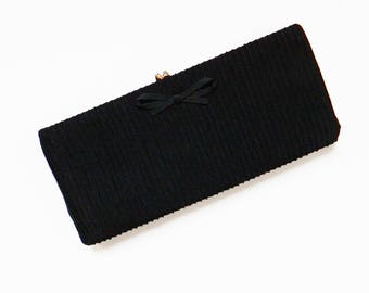 Pleated Vintage Clutch / Retro Vintage Purse in Pleated Chiffon / Black Evening Bag Clutch