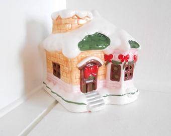 Gingerbread House Ceramic Vintage Christmas Santa House Candle or night light bulb