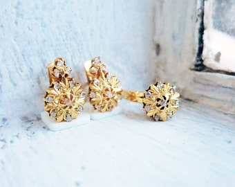 Vintage Rositas Earrings and Ring Set (US Ring Size 6) in 8K Gold with Rough Cut Diamonds