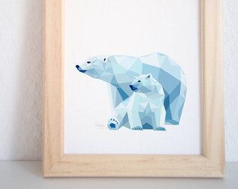 Polar bear wall art, Bear illustration, Mother and child art, Baby bear art for nursery, Geometric bear, Arctic animals theme, Baby room art