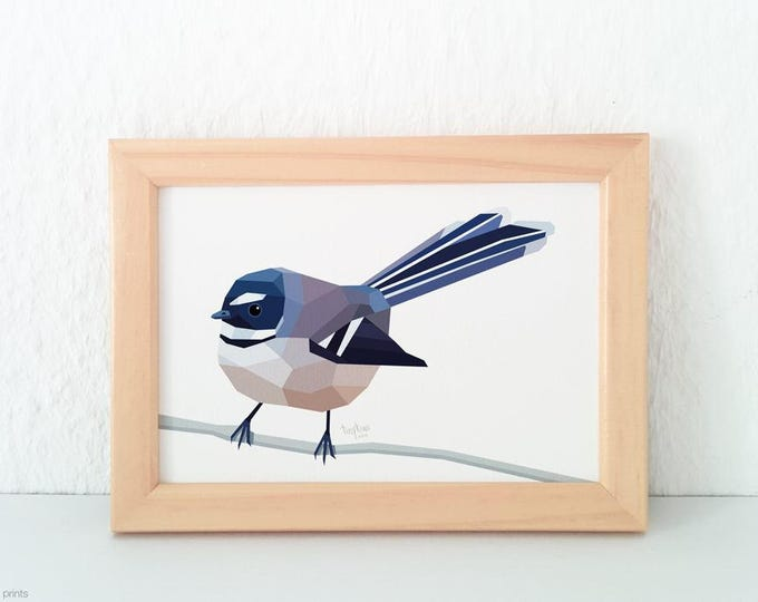 Fantail print, New Zealand fantail, New Zealand native bird art, New Zealand artist, Kiwiana, Kiwi gift, Made in NZ, Kiwi art, NZ home decor