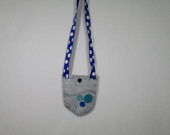 Recycled denim purse, upcycled, cell phone holder, girl's pocketbook, jeans pocket, small electronics bag, gift for neice