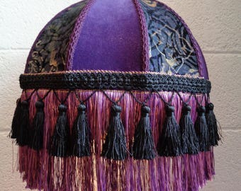 Victorian Edwardian Downton Style Purple Velvet Fringe Lampshade OOAK Handmade