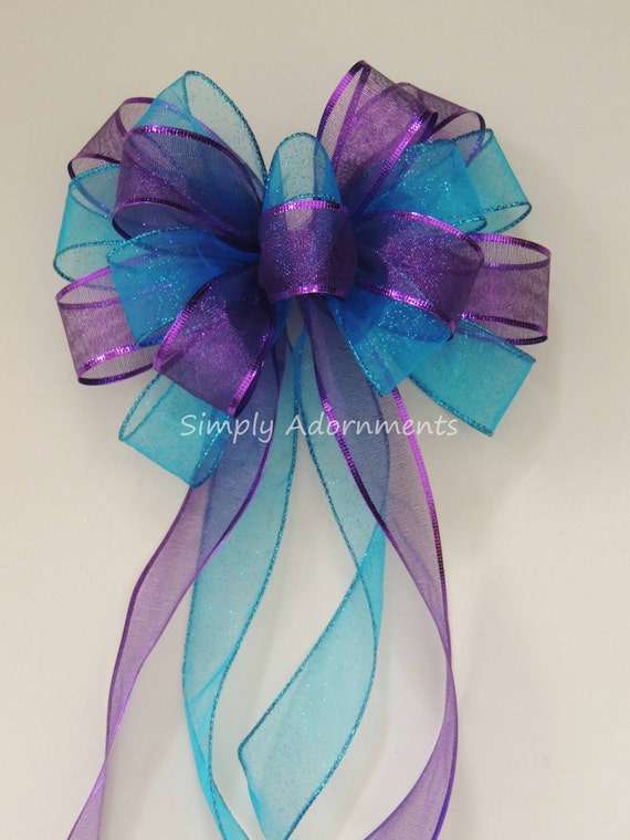Purple Blue Wreath Bow Peacock Wedding Pew Bow Turquoise Purple Pew Bow Peacock Wedding Chair Bow Blue Purple Bridal Shower Bow Gift Bow