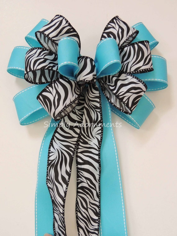 Turquoise zebra Baby Shower Turquoise zebra Birthday Party Decor Blue Safari Baby Shower Decor Blue Zebra Wedding Pew Bow Safari Gift bow