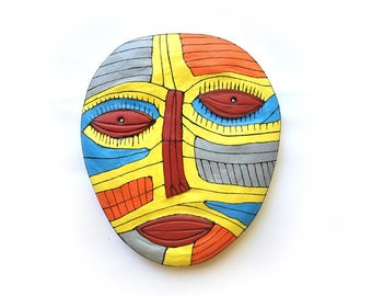 Abstract wall face, Funky art face, Colorful art mask, Wall unique mask, Modern sculpture, Wall sculpture, Mixed media art, bright   art