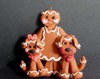 Gingerbread Dog Christmas Ornament Ginger Cookie Puppy Girl Pet Polymer Clay Milestone Cake Topper Bakery Treat Heart Collar Baker Boy Girl